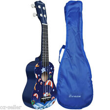 Kids Guitar Ukulele Soprano Basswood body Nato neck Timber with Carry Bag