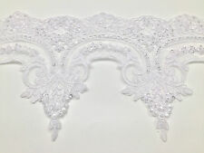 WHITE LACE TRIM WITH SEQUINS X1 YARD. LARGE SIZE TRMMING