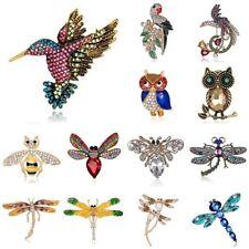 Women Costume Jewellery Animal Pearl Bird Owl Dragonfly Bee Crystal Brooch Pin