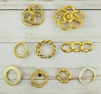 Vintage Art Deco Medieval Viking Style Circle Round Brooch Pin Lot Gold Tone