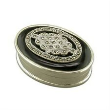 Silver / Onyx / Marcasite  Oval Keeper / Pill Box