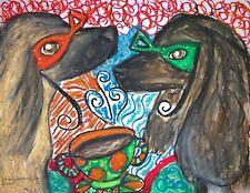 Afghan Hound Collectible Aceo Print Dog Mini Art Card 2.5 X 3.5 by Ksams Masks