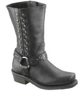Harley-Davidson 10 AUBURN Harness 9-Inch Leather Motorcycle Boots D85431 NWD