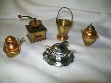 New listing Miniature Artisan Copper Brass Metal Pans Urn Pail Coffee Grinder Doll House