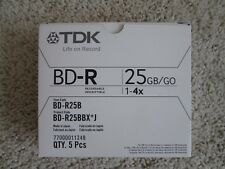 5 PACK TDK LIFE ON RECORD BD-R 25GB/GO 1-4X BLU-RAY DISCS