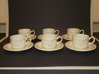 6 English Ironstone Tableware Ltd EIT Ltd Floral Design Cups and Saucers Lovely
