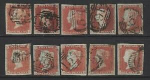 QV 1d Red Imperforate x 10. 1844 type cancellations.