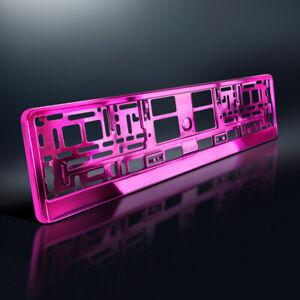 1 Kennzeichenhalter | PINK Metallic | Hochglanz | Chrom Look Rosa | DHL-Versand