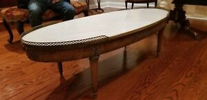 Antique White Marble Oval Coffee Table with Wood