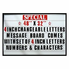 "4"" Big Changeable Letter Message Sign Menu Price Marquee Reader Board 48""x 32"""