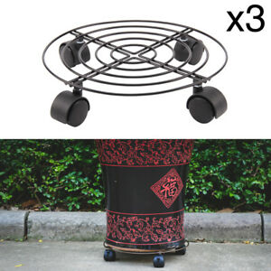 3 Pcs Plant Pot Round Wheels Mover Trolley Caddy Garden Plate Metal Stand Hot