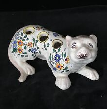 CAT BOUQUETIERE Desvres French Faience Rare Bud Vase Figurine Signed ROUEN 19thC