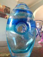 Hand Blown Bubble Art Glass Cobalt & aqua Blue swirl  Vase Large 10 x 6 inch.