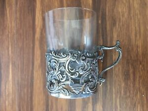 Set of 6 antique old coffee glass cups with sterling silver holders,1900,London