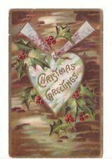 Christmas Greetings, Holly, Locket, Vintage Embossed Winsch Back Postcard