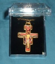 GOLD PLATED SAN DAMIANO CRUCIFIX w/chain PENDANT 17in NIB Catholic Cross Francis