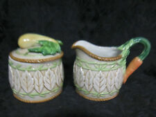 Fitz and Floyd Le Canard Sugar and Creamer Ceramic Vegetable Embossed New in Box
