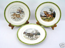 "(3) J.P.L. FRANCE J POUYAT LIMOGES - 8.5"" ANTIQUE RARE PLATES - WRIGHT KAY & CO"