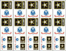 40 Removable Stickers: US Army Flag & Logo, Military Party Favors, Decals