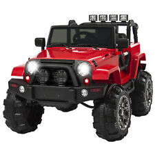 BCP 12V Kids Ride-On Truck Car Toy w/ 3 Speeds, LED Lights, Remote Control, Aux