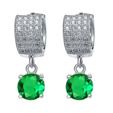 3.11 Ct Round Green Simulated Emerald 925 Sterling Silver Earrings