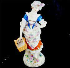 VINTAGE SITZENDORF PORCELAIN FIGURINE GIRL CARRYING BASKET