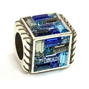 Brighton Blue St. Michel Cube Bead, J98486, Silver Finish with Crystals, New