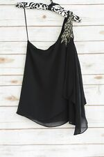 Guess - Black CHIFFON one shoulder BEADED loose blouse, size XS