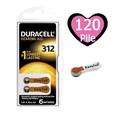 120 Batterie PILE Duracell Activair 312 Apparecchi Acustici PROTESI udito PR41