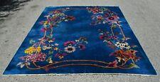 Peking Chinese Rug Handmade 1900s Blue Background Multi-Color Floral Rarest