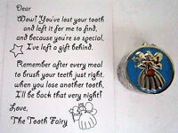 """BABY KEEPSAKE """"MY FIRST TOOTH"""" SILVER & BLUE BOX WITH TOOTH FAIRY CALLING CARD"""