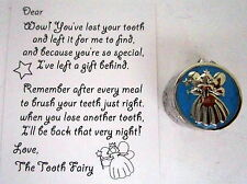 "BABY KEEPSAKE ""MY FIRST TOOTH"" SILVER & BLUE BOX WITH TOOTH FAIRY CALLING CARD"