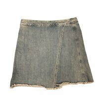 Ann Taylor Loft Mini Skirt Women's Size 28/6 Ashy Denim Wrap Raw Hem Cutoff Jean