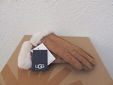 UGG CHESTNUT CLASSIC PERFORATED 2- POINT SUEDE SHEEPSKIN CUFF GLOVES, L  ~NWT