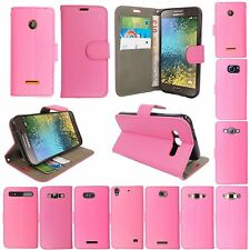 PU LEATHER PINK MAGNETIC CARD WALLET BOOK CASE COVER FOR VARIOUS PHONE MODELS