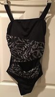 Contour By Beach Scene Sz 10 Black Silver Dots Layers One Piece Swim Suit