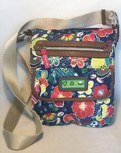 LILY BLOOM Crossbody Messenger Bag Floral Print Adjustable Strap 13X3X10