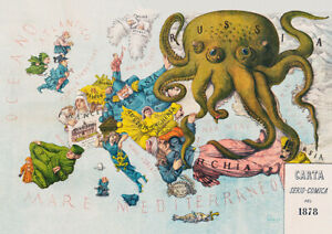 Vintage comical map A. Grossi Russia Octopus wall art poster print A5 A4 A3 A2