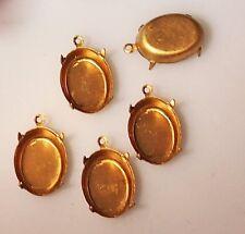 12 Vtg  Brass Oval 4 Prong Settings 1 Ring Closed Backs 18 x 13 mm mint