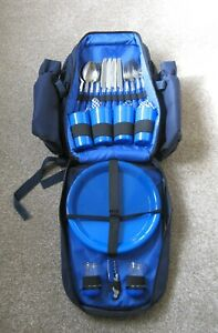 FOUR (4) PERSON PICNIC SET BASKET IN RUCK SACK BACK PACK (Please read listing)