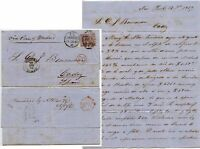 GB 1865 CHRISTMAS DAY DUPLEX 6d Pl.5...USA to SPAIN LIVERPOOL FORWARDED BARR +CO
