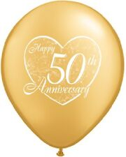 "Happy 50th Anniversary Wedding Party Heart Gold 10 Pc 11"" Latex Decor Balloons"