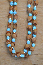 """60"""" Turq/Silver Navajo Ghost/Cedar Beads Necklace. Juniper Berry by L. Bitsoie."""