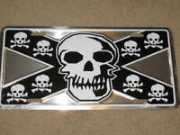 PIRATE SKULL METAL LICENSE PLATE SIGN CROSS BONES L268