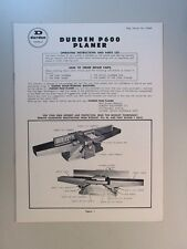 DURDEN P600 PLANER/JOINTER  OPERATING INSTRUCTIONS AND PARTS LIST MANUAL