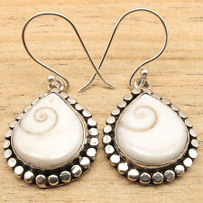 SHIVA EYE SHELL Ethnic Fashion Jewelry Drop Earrings White ! 925 Silver Plated