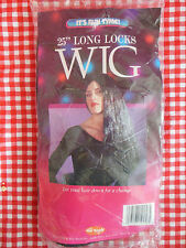 "Halloween Costume Wig Black 25"" Cosplay Witch Morticia Vampire NIP NOS"