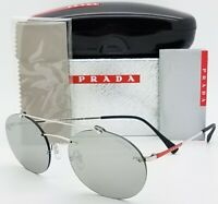 New Prada sunglasses PS56TS 1BC2B0 55mm Silver Grey Mirror AUTHENTIC Round PS 56