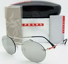 ed5e8e3d2 New Prada sunglasses PS56TS 1BC2B0 55mm Silver Grey Mirror AUTHENTIC Round  PS 56