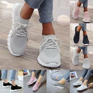 Women Pumps Breathable Sports Trainer Slip On Dance Workout Running Sock Shoes